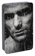 Dramatic Portrait Of Man Wet Face Black And White Portable Battery Charger