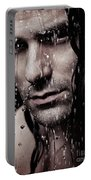 Dramatic Portrait Of Young Man Wet Face With Long Hair Portable Battery Charger