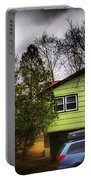 Suburban Dream - House With Blue Car Portable Battery Charger