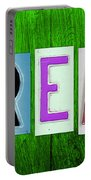 Dream License Plate Letter Vintage Phrase Artwork On Green Portable Battery Charger by Design Turnpike