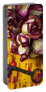 Dried Pink Roses And Key Portable Battery Charger