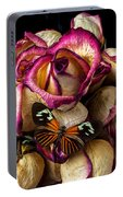 Dried Rose And Butterfly Portable Battery Charger