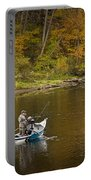 Drift Boat Fishermen On The Muskegon River Portable Battery Charger