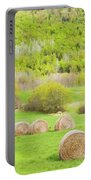Dry Hay Bales In Spring Farm Field Maine Portable Battery Charger
