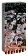 Dubrovnik Rooftops Domes And North East Walls Against The Mountains From The Sea Walls Portable Battery Charger
