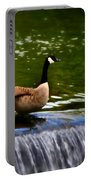 Duck On The River Wye Waterfall - In Bakewell Peak District - England Portable Battery Charger