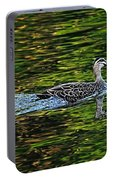 Ducks On Green Reflections - Panorama Portable Battery Charger
