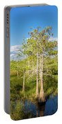 Dwarf Cypress Trees In A Field Portable Battery Charger