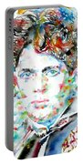 Dylan Thomas - Watercolor Portrait Portable Battery Charger