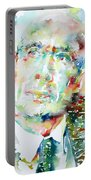 E. E. Cummings - Watercolor Portrait Portable Battery Charger