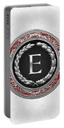 E - Silver Vintage Monogram On White Leather Portable Battery Charger