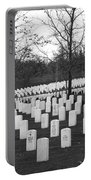 Eagle Point National Cemetery In Black And White Portable Battery Charger by Mick Anderson