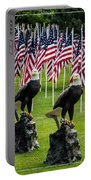 Eagles And Flags On Memorial Day Portable Battery Charger