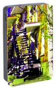Early Spring Stroll City Streets With Spiral Staircases Art Of Montreal Street Scenes Carole Spandau Portable Battery Charger