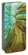 Aqua Teal Brown Organic Abstract Art Portable Battery Charger