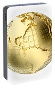 Earth In Gold Metal Isolated On White Portable Battery Charger