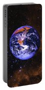 Earth In Space With Gaseous Nebula And Portable Battery Charger