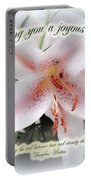 Easter Greeting Card - White Lily With Quote Portable Battery Charger