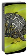 Eastern Box Turtle On Yellow Lily Portable Battery Charger