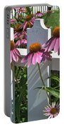 Echinacea And A White Picket Fence Portable Battery Charger