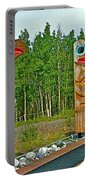Edward Smarch Totem Poles At Teslin Tlingit Heritage Memorial Center In Teslin-yt Portable Battery Charger