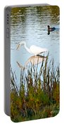 Egret And Coot In Autumn Portable Battery Charger