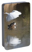 Egret And Geese At Gilbert  Riparian Preserve Portable Battery Charger