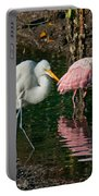 Egret And Pink Spoonbill Portable Battery Charger
