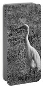 Egret In Black And White Portable Battery Charger