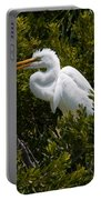 Egret In Bushes Portable Battery Charger