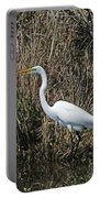 Egret In Marsh In Display  Portable Battery Charger