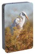 Egret In The Salt Cedars Portable Battery Charger
