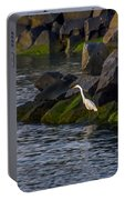 Egret On The Rocks Portable Battery Charger