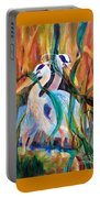 Egrets In Red 2            Portable Battery Charger