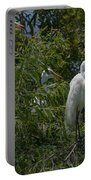 Egrets In Tree Portable Battery Charger