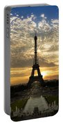Eiffel Tower At Sunset Portable Battery Charger by Debra and Dave Vanderlaan