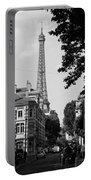 Eiffel Tower Black And White 4 Portable Battery Charger
