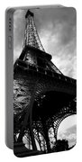 Eiffel Tower In Black And White. Ominous Sky Overhead Portable Battery Charger