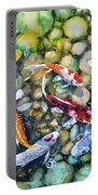 Eight Koi Fish Playing With Bubbles Portable Battery Charger