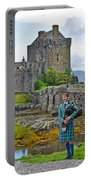 Eilean Donan Castle And The Lone Piper Portable Battery Charger