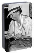 Eleanor Roosevelt Knitting Portable Battery Charger by Underwood Archives