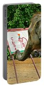 Elephant Artist In Mae Taeng Elephant Park Near Chiang Mai-thailand Portable Battery Charger
