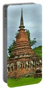 Elephant Stupa At Wat Sarasak In Sukhothai Historical Park-thailand Portable Battery Charger