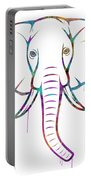 Elephant Watercolors - White Background Portable Battery Charger