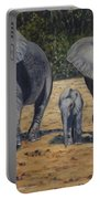 Elephants With Calf Portable Battery Charger