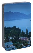 Elevated View Of Town At Dawn Portable Battery Charger