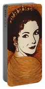 Elizabeth Taylor Original Coffee Painting On Paper Portable Battery Charger