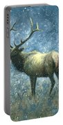 Elk In Snow Flurries Portable Battery Charger