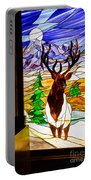 Elk Stained Glass Window Portable Battery Charger