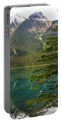 Emerald Lake Reflection And Pine Tree In Yoho National Park-british Columbia-canada Portable Battery Charger
